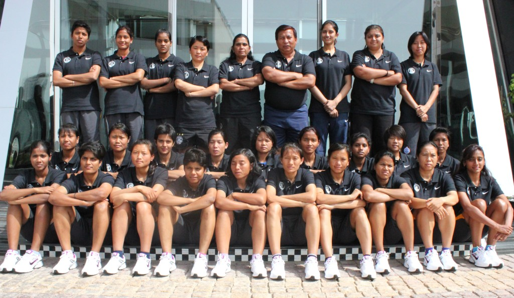 The-Indian-Womens-National-Team-pose-outside-the-Team-Hotel-in-Manama.